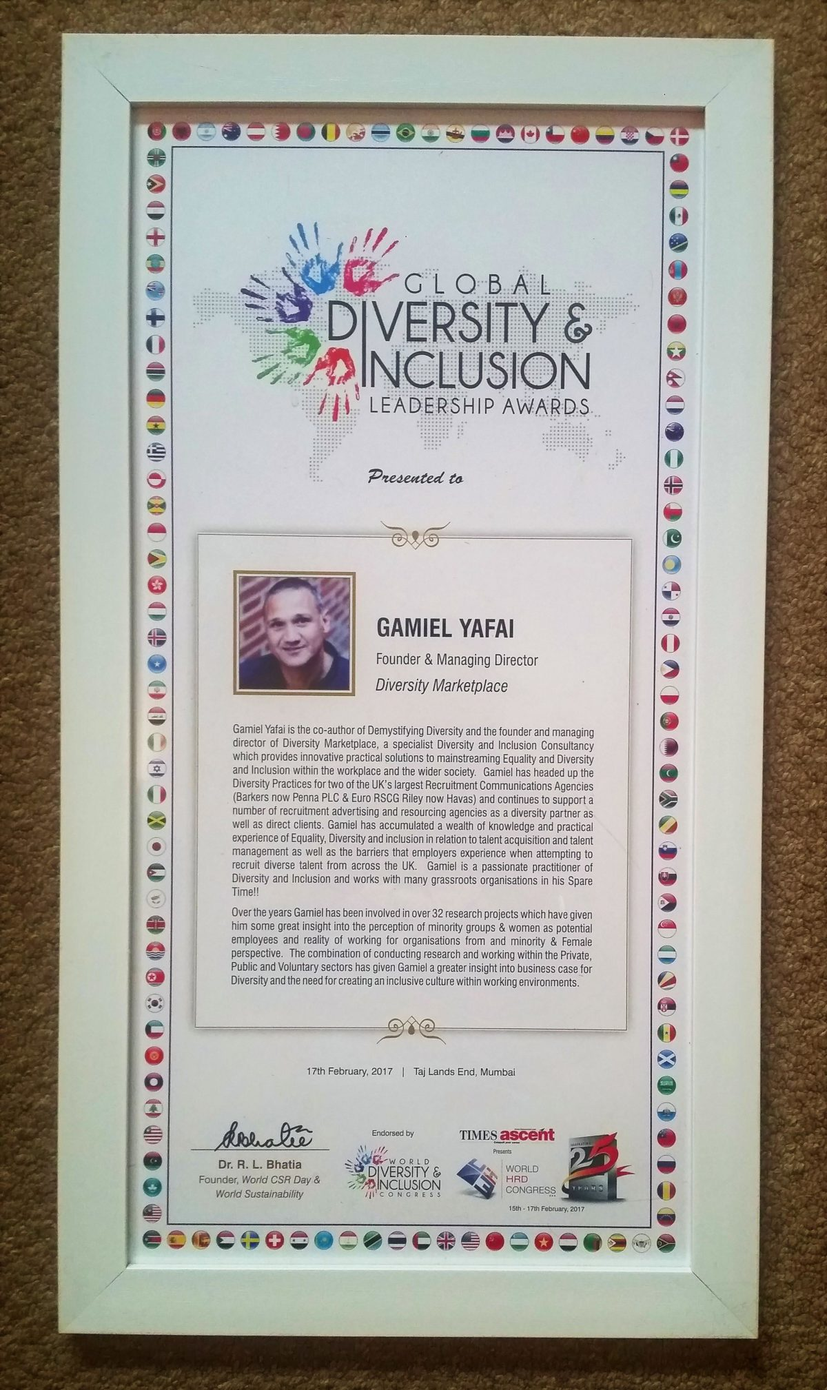 Gamiel receives award from the Global HRD Congress